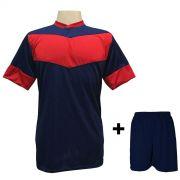 Uniforme Esportivo com 18 camisas modelo Columbus Marinho/Vermelho + 18 calções modelo Madrid Marinho + Brindes