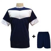 Uniforme Esportivo com 18 camisas modelo Columbus Marinho/Branco + 18 calções modelo Madrid Marinho + Brindes