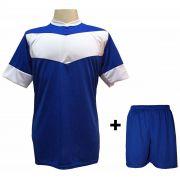 Uniforme Esportivo com 18 camisas modelo Columbus Royal/Branco + 18 calções modelo Madrid Royal + Brindes