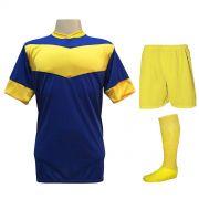 Fardamento Completo Modelo Columbus 18+1 (18 Camisas Royal/Amarelo + 18 Calções Madrid Amarelo + 18 Pares de Meiões Amarelos + 1 Conjunto de Goleiro) + Brindes