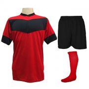 Fardamento Completo Modelo Columbus 18+1 (18 Camisas Vermelho/Preto + 18 Calções Madrid Preto + 18 Pares de Meiões Vermelhos + 1 Conjunto de Goleiro) + Brindes