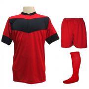Fardamento Completo Modelo Columbus 18+1 (18 Camisas Vermelho/Preto + 18 Calções Madrid Vermelho + 18 Pares de Meiões Vermelhos + 1 Conjunto de Goleiro) + Brindes