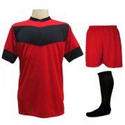 Fardamento Completo Modelo Columbus 18+1 (18 Camisas Vermelho/Preto + 18 Calções Madrid Vermelho + 18 Pares de Meiões Pretos + 1 Conjunto de Goleiro) + Brindes