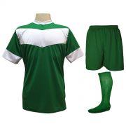 Fardamento Completo Modelo Columbus 18+1 (18 Camisas Verde/Branco + 18 Calções Madrid Verde + 18 Pares de Meiões Verdes + 1 Conjunto de Goleiro) + Brindes