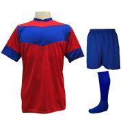 Fardamento Completo Modelo Columbus 18+1 (18 Camisas Vermelho/Royal + 18 Calções Madrid Royal + 18 Pares de Meiões Royal + 1 Conjunto de Goleiro) + Brindes