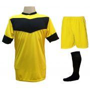 Fardamento Completo modelo Columbus 18+2 (18 Camisas Amarelo/Preto + 18 Calções Madrid Amarelo + 18 Pares de Meiões Pretos + 2 Conjuntos de Goleiro) + Brindes