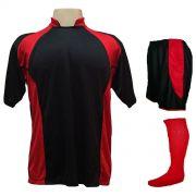 Uniforme Esportivo Completo modelo Suécia 14+1 (14 Camisas Preto/Vermelho + 14 Calções modelo Copa Preto/Vermelho + 14 Pares de Meiões Vermelhos + 1 Conjunto de Goleiro) + Brinde