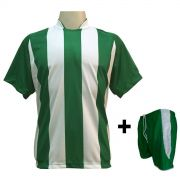 Uniforme Esportivo com 12 camisas modelo Milan Verde/Branco + 12 calções modelo Copa + 1 Goleiro Brindes