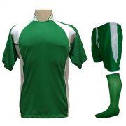 Uniforme Esportivo Completo modelo Suécia 14+1 (14 Camisas Verde/Branco + 14 Calções modelo Copa Verde/Branco + 14 Pares de Meiões Verdes + 1 Conjunto de Goleiro) + Brindes