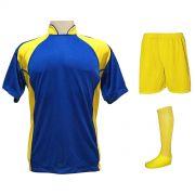 Uniforme Esportivo Completo modelo Suécia 14+1 (14 camisas Royal/Amarelo + 14 calções Madrid Amarelo + 14 pares de meiões Amarelo + 1 conjunto de goleiro) + Brindes