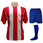 Uniforme Completo modelo Milan 18+2 (18 Camisas Vermelho/Branco + 18 Calções Madrid Royal + 18 Pares de Meiões Royal + 2 Conjuntos de Goleiro) + Brindes