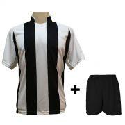 Uniforme Esportivo com 18 camisas modelo Milan Branco/Preto + 18 calções modelo Madrid Preto + Brindes