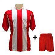 Uniforme Esportivo com 20 camisas modelo Milan Vermelho/Branco + 20 calções modelo Madrid Vermelho + Brindes