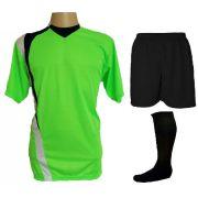 Uniforme Esportivo Completo modelo PSG 14+1 (14 camisas Limão/Preto/Branco + 14 calções Madrid Preto + 14 pares de meiões Pretos + 1 conjunto de goleiro) + Brindes