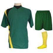 Uniforme Esportivo Completo modelo PSG 14+1 (14 camisas Verde/Preto/Amarelo + 14 calções Madrid Verde + 14 pares de meiões Amarelos + 1 conjunto de goleiro) + Brindes