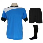 Uniforme Esportivo Completo modelo Sporting 14+1 (14 camisas Celeste/Branco/Preto + 14 calções Madrid Preto + 14 pares de meiões Preto + 1 conjunto de goleiro) + Brindes
