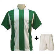 Uniforme Esportivo com 20 camisas modelo Milan Verde/Branco + 20 calções modelo Madrid Branco + Brindes