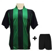 Uniforme Esportivo com 20 camisas modelo Milan Preto/Verde + 20 calções modelo Madrid Preto + Brindes