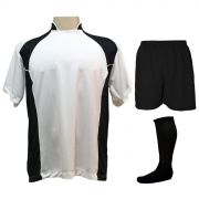 Uniforme Esportivo Completo modelo Suécia 14+1 (14 camisas Branco/Preto + 14 calções Madrid Preto+ 14 pares de meiões Pretos + 1 conjunto de goleiro) + Brindes
