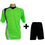 Uniforme Esportivo com 14 camisas modelo PSG Limão/Preto/Branco + 14 calções modelo Madrid Preto + Brindes