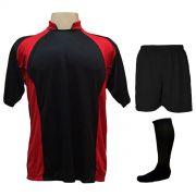 Uniforme Esportivo Completo modelo Suécia 14+1 (14 camisas Preto/Vermelho + 14 calções Madrid Preto + 14 pares de meiões Pretos + 1 conjunto de goleiro) + Brindes