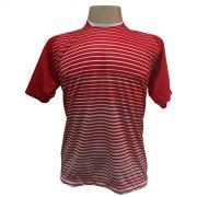 Jogo de Camisa com 18 unidades modelo City Vermelho/Branco + 1 Goleiro + Brindes