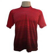 Jogo de Camisa com 18 unidades modelo City Vermelho/Preto + 1 Goleiro + Brindes