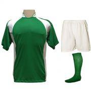 Uniforme Esportivo Completo modelo Suécia 14+1 (14 Camisas Verde/Branco + 14 Calções Madrid Branco + 14 Pares de Meiões Verdes + 1 Conjunto de Goleiro) + Brindes