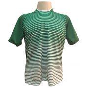 Jogo de Camisa com 18 unidades modelo City Verde/Branco + 1 Goleiro + Brindes