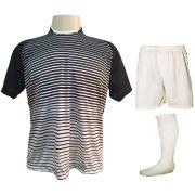 Fardamento Completo modelo City 12+1 (12 Camisas Preto/Branco + 12 Calções Madrid Branco + 12 Pares de Meiões Brancos + 1 Conjunto de Goleiro) + Brindes