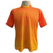 Jogo de Camisa com 18 unidades modelo City Laranja/Amarelo + 1 Goleiro + Brindes