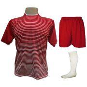 Fardamento Completo modelo City 18+1 (18 Camisas Vermelho/Branco + 18 Calções Madrid Vermelho + 18 Pares de Meiões Brancos + 1 Conjunto de Goleiro) + Brindes