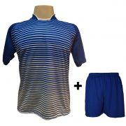 Uniforme Esportivo com 18 camisas modelo City Royal/Branco + 18 calções modelo Madrid Royal + Brindes