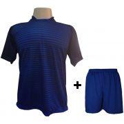 Uniforme Esportivo com 12 camisas modelo City Marinho/Royal + 12 calções modelo Madrid Royal + Brindes