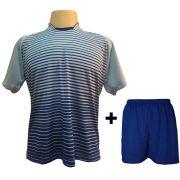 Uniforme Esportivo com 12 camisas modelo City Celeste/Royal + 12 calções modelo Madrid Royal + Brindes