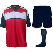 Fardamento Completo modelo Lottus Premium 20+1 (20 camisas Marinho/Vermelho/Branco + 20 calções Marinho/Vermelho + 20 pares de meiões Marinho + 1 conjunto de goleiro) + Brindes