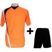 Uniforme Esportivo com 14 camisas modelo PSG Laranja/Preto/Branco + 14 calções modelo Madrid Preto + Brindes
