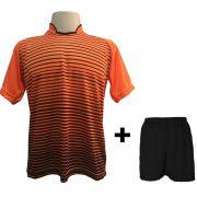 Uniforme Esportivo com 12 camisas modelo City Laranja/Preto + 12 calções modelo Madrid + 1 Goleiro + Brindes