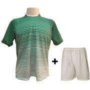 Uniforme Esportivo com 12 camisas modelo City Verde/Branco + 12 calções modelo Madrid + 1 Goleiro + Brindes