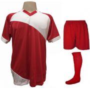 Fardamento Completo modelo Bélgica 20+1 (20 camisas Vermelho/Branco + 20 calções modelo Madrid Vermelho + 20 pares de meiões Vermelho + 1 conjunto de goleiro) + Brindes