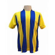 Jogo de Camisa com 18 unidades modelo Milan Amarelo/Royal + 1 Goleiro + Brindes