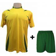 Uniforme Esportivo com 14 camisas modelo Palermo Amarelo/Verde + 14 calções modelo Madrid + 1 Goleiro + Brindes