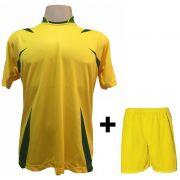 Uniforme Esportivo com 14 camisas modelo Palermo Amarelo/Verde + 14 calções modelo Madrid Amarelo + Brindes