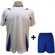 Uniforme Esportivo com 14 camisas modelo Palermo Branco/Royal + 14 calções modelo Madrid Royal + Brindes