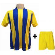 Uniforme Esportivo com 12 camisas modelo Milan Amarelo/Royal + 12 calções modelo Madrid Amarelo + Brindes