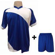 Uniforme Esportivo com 20 camisas modelo Bélgica Royal/Branco + 20 calções modelo Madrid Royal + Brindes