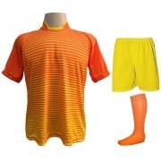 Fardamento Completo modelo City 18+2 (18 Camisas Laranja/Amarelo + 18 Calções Madrid Amarelo + 18 Pares de Meiões Laranja + 2 Conjuntos de Goleiro) + Brindes