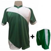 Uniforme Esportivo com 20 camisas modelo Bélgica Verde/Branco + 20 calções modelo Copa Verde/Branco + Brindes