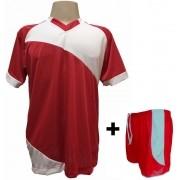 Uniforme Esportivo com 20 camisas modelo Bélgica Vermelho/Branco + 20 calções modelo Copa Vermelho/Branco + Brindes
