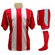 Fardamento Completo modelo Milan 20+1 (20 camisas Vermelho/Branco + 20 calções modelo Copa Vermelho/Branco + 20 pares de meiões Vermelho + 1 conjunto de goleiro) + Brindes